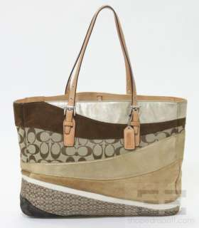 Gold Beige & Brown Suede Leather & Monogram Canvas Tote Bag