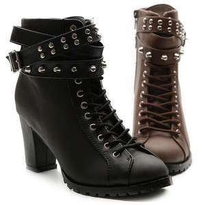 Military Ankle Boots Lace Ups Chunky High Heels Metal Studs