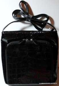 Mundi Melinda Black Patent Croco Crossbody Shoulder Bag NWT Adjustable