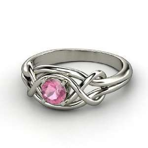 Infinity Knot Ring, Round Pink Tourmaline 14K White Gold