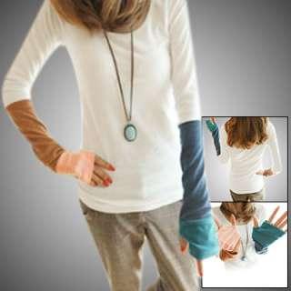Thumb Hole Sleeve Scoop Neck Autumn Shirt for Women