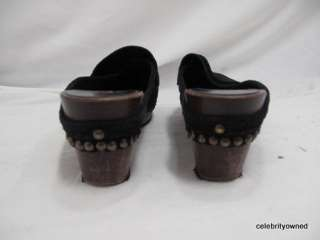 Michael Kors Black Suede Studded Slip On Low Wood Clogs 7 B
