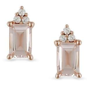 10k Pink Gold Morganite Diamond Accent Earrings Jewelry
