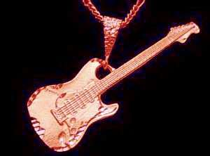 Electric Guitar Pendant Charm Music Rose Gold Plated
