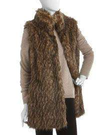 NWT Authentic Michael Kors Rare Dark Camel Brown Long Faux Fur Gilet