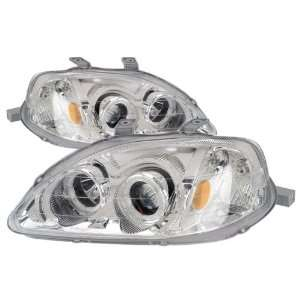 99 00 Honda Civic Chrome LED Halo Projector Headlights /w