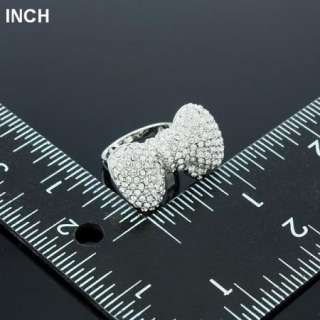 ARINNA bowknot clear finger ring stainless white gold plated swarovski