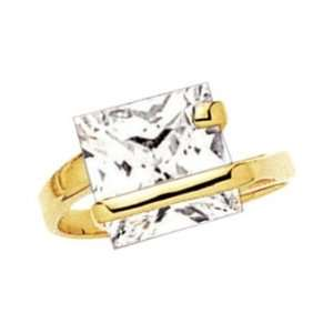 18K Gold Plated Clear Cubic Zirconia Square Solitaire Ring