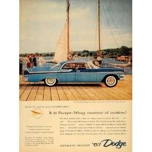 1956 Ad Light Blue Swept Wing Dodge Royal Lancer Port   Original Print