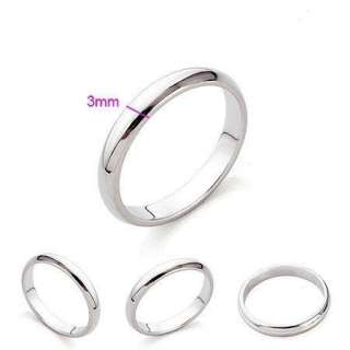 18K White Gold Plated Band Ring Fashion Jewelry 3mm