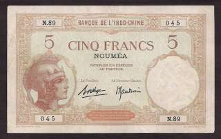 NEW CALEDONIA INDOCHINA 1926 5 FRANCS NOTE   045