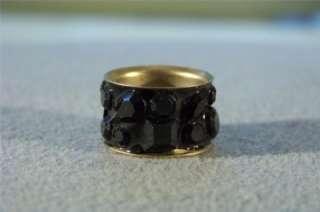 VINTAGE GOLD TONE 2 ROW ETERNITY WEDDING BAND RING 7.5