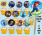 Super Mario Bros Video Game Double sided Images Cupcake Picks Cake
