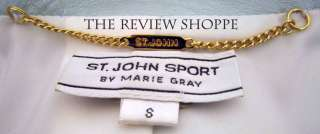 St John Sport by Marie Gray Pearl Leather Gold Ring Jacket Seafoam