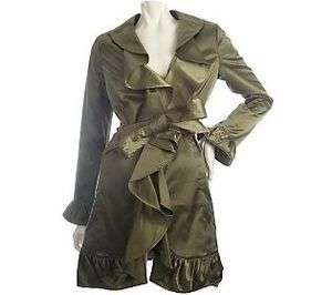 by Marc Bower Ruffle Detail Trench Coat, Light Olive, Large