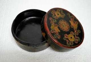 Chinese Black Painted Round Jewelry Gift Box MAR15 05