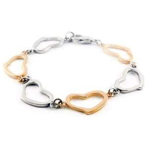 Stainless Steel Gold Rose Immerse Plated Heart Bracelet Jewelry