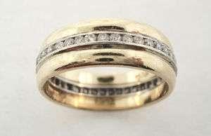 14K YELLOW GOLD PLATINUM DIAMOND BAND RING .64 CARATS