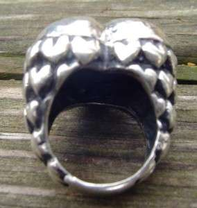 BIG SIGNED DIAN MALOUF STERLING SILVER HAMMERED HEART RING SIZE 6.75