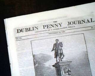 Rare DUBLIN Ireland United Kingdom 1835 Old Newspaper *