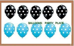 10 POLKA DOT BALLOONS BLUE BLACK PARTY SUPPLIES