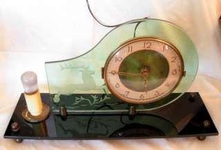JAKOB PALMTAG ART DECO ELECTRIC GLASS CLOCK W/ LAMP