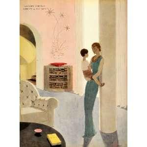 1934 A. E. Marty Mother Child Paul Iribe ART DECO Print