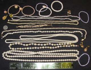 VINTAGE MODERN FAUX PEARL BEAD JEWELRY LOT NECKLACE MONET BRACELET