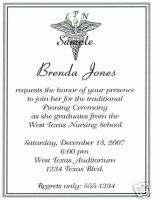 20 Graduation Invitations/Nursing/Nurse/Caduceus/LPN