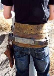 vintage MILLER LINEMAN climbing utility belt strap KLEIN TOOLS leather