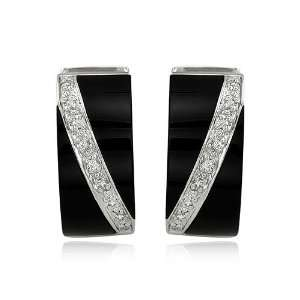 14K White Gold Onyx And Diamond Earrings (SI2 I1 clarity