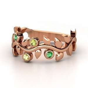 Liana Ring with Four Gems, 14K Rose Gold Ring with Peridot