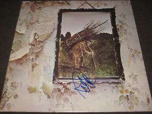 LED ZEPPELIN SIGNED LP ZEPPELIN 4 AUTOGRAPHED JPJ PROOF