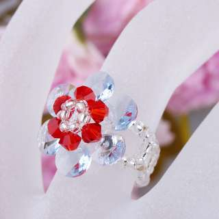 1Pcs Adjustable Flower Crystal Glass Beads Ring jra20