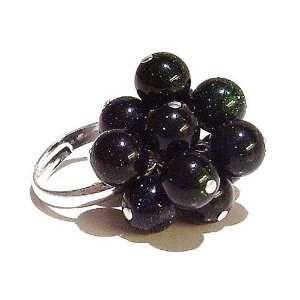 The Black Cat Jewellery Store Very Dark Blue & Green Goldstone Cluster
