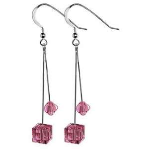 Sterling Silver Pink Cube Crystal Earrings Made with