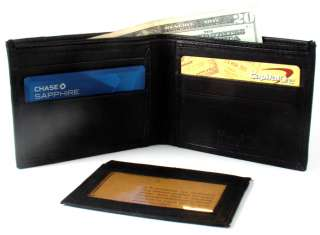 Men Black Genuine Leather Bi Fold Bi Fold Wallet with ID Wallet Y01