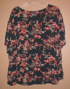 WOMENS PLUS SIZE KATHIE LEE SHORT SLEEVE TOP FLOWER PRINT SHIRT SZ 18W