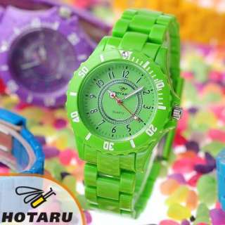 HOTARU Plastic Quartz Men Lady Sport Wrist Watch + Bag