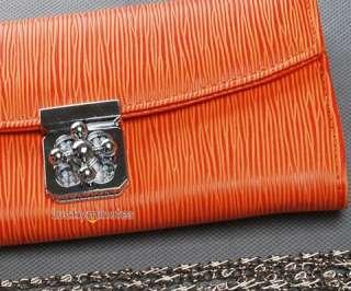 I772 Orange Stripes Flower Buckle Lady Long Wallet Purse Shoulder Hand