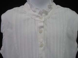 NWT KULE Girls White Pleated Shirt Top Sz 8