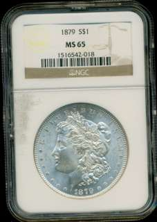 1879 P MORGAN SILVER DOLLAR NGC MS65 HTF IN HIGH GRADES