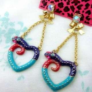 Betsey Johnson Snake TRAPEEZ Heart Earrings Stud