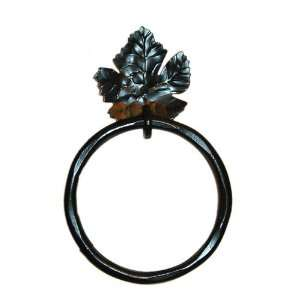Lajitas Grape Leaf Wrought Iron Towel Ring Home & Kitchen