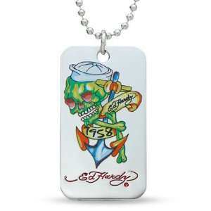 Ed Hardy 1958 SKULL COLOR Dog Tag Pendant Necklace ~ Boxed