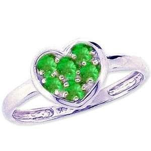 14K White Gold A Dainty Gem Studded Sweet Heart Promise Ring Emerald