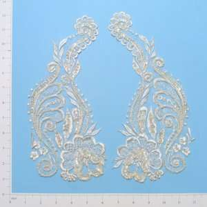 Long Stem Rose Lace Applique Pack of 2
