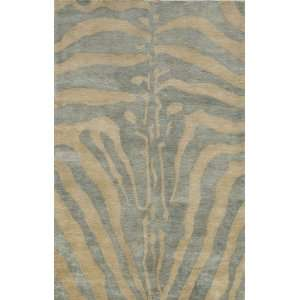 Momeni Serengeti Ice Blue Zebra Animal Prints 7 9 x 7 9