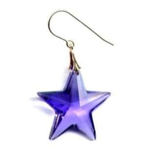 Purple Star Gold Earrings Swarovski Jewelry