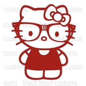 Hello Kitty Nerd DARK RED Glasses Pink Vinyl Decal Sticker